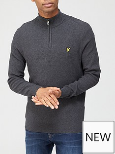 lyle-scott-quarter-zip-moss-stitch-jumper-charcoal