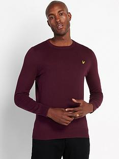 lyle-scott-crew-neck-cotton-merino-jumper-burgundy