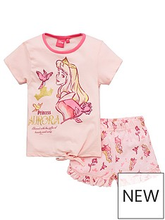 disney-sleeping-beauty-girlsnbsptie-detail-shortie-pjs-pink