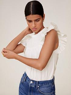 mango-shirred-high-neck-extreme-sleeve-top-white
