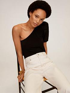mango-one-shoulder-puff-sleeve-top-black