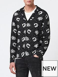 allsaints-rennes-floral-dot-print-shirt-black