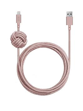 native-union-night-cable-usb-c-to-lightning-with-weighted-knot-rose-3m