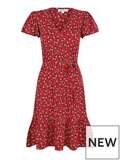 monsoon-printed-short-jersey-dress-red