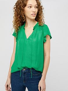 monsoon-wilda-shirred-woven-front-top-green