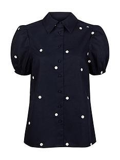 monsoon-organic-cotton-spot-blouse-navy