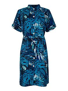 monsoon-palm-print-sustainable-viscose-shirt-dress-blue