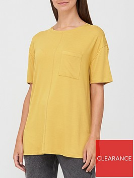 v-by-very-pocket-side-split-longline-t-shirt-mustard