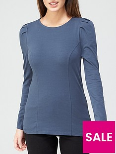 v-by-very-puff-sleeve-seamed-detail-top-petrol-blue