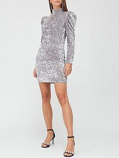 v-by-very-puff-sleeve-sequin-mini-dress-silver