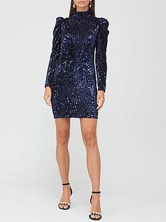 v-by-very-puff-sleeve-sequin-mini-dress-navy