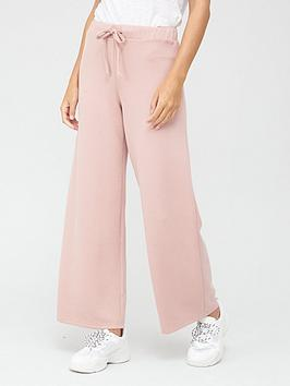 V By Very Premium Wide Leg Joggers - Blush, Blush, Size S, Women