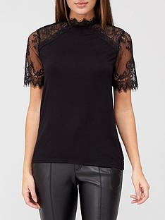 v-by-very-lace-detail-short-sleeve-top-black