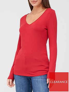 v-by-very-long-sleeve-vee-neck-tee-deep-red