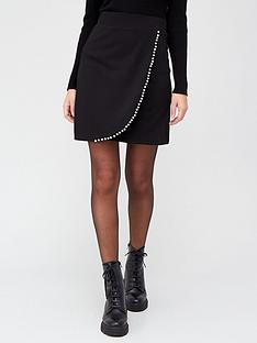 v-by-very-pearl-detail-wrap-skirt-black