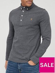 farah-ricky-long-sleeve-polo-shirt-grey-marlnbsp