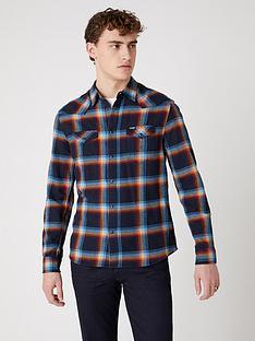 wrangler-western-shirt-in-check-navy