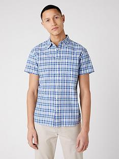 wrangler-short-sleeve-check-shirt-blue