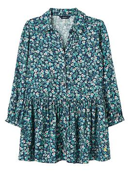 joules girls amelia luxe ditsy woven shirt dress - navy