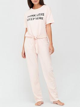 v-by-very-think-less-sleep-more-knot-front-pyjamas-pink
