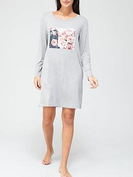 v-by-very-floral-graphic-long-sleeve-nightdress-grey-marl