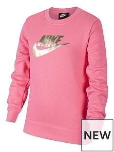 nike-girls-nsw-shine-french-terry-crew-neck-pinkgold