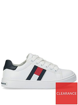tommy-hilfiger-childrensnbsplow-cut-flag-lace-up-trainer-white