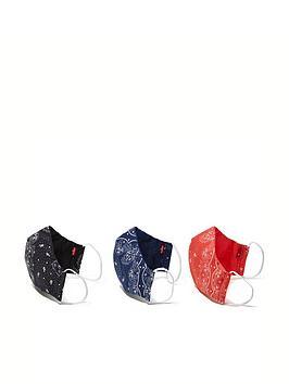 levis-3-packnbspreusable-bandana-face-covering-blacknavyred