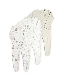 mamas-papas-baby-unisex-3-pack-bee-sleepsuits-beige