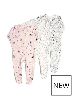 mamas-papas-baby-girls-3-pack-floral-sleepsuits-multi