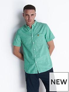 lyle-scott-short-sleeve-lightweight-slub-oxford-shirt-blue