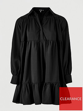 missguided-missguided-frill-poplin-shirt-dress-black
