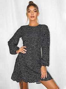 missguided-missguidednbspruched-side-long-sleeve-dalmatian-print-tea-dressnbsp--black