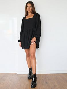 missguided-missguided-shirred-smock-dress-textured-black