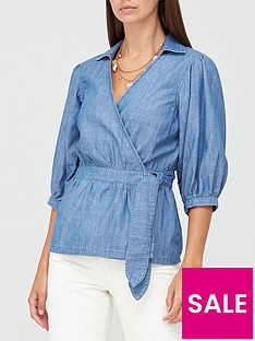 v-by-very-cia-wrap-over-soft-denim-top-mid-wash