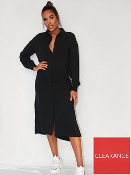 missguided-missguided-utility-shirt-midi-dress-black