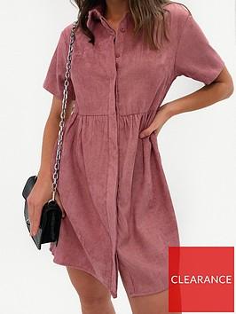 missguided-missguided-cordnbspshort-sleevenbspsmock-dress-blush