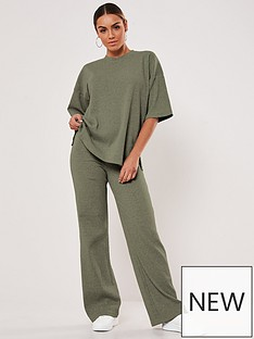 missguided-missguided-rib-t-shirt-wide-leg-set-khaki