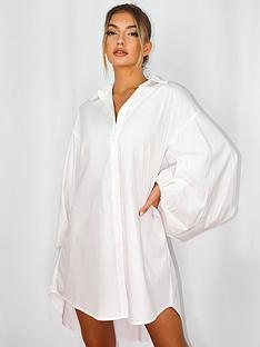 missguided-missguided-puffball-sleeve-oversized-shirt-dress-white
