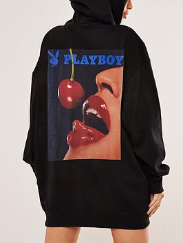 missguided-missguided-playboy-cherry-graphic-hoodie-dress-black