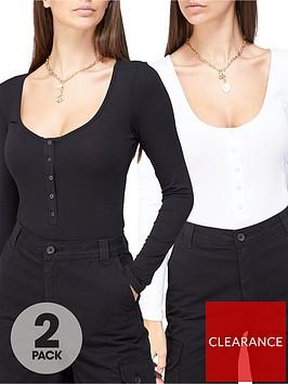 missguided-missguided-popper-long-sleeve-bodysuit-2-pack-black-white