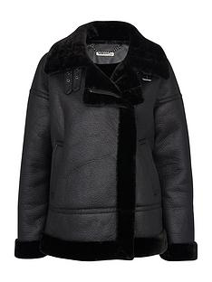 whistles-faux-fur-ultimate-biker-black