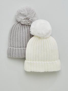 v-by-very-baby-2-pack-pom-beanie-greywhite