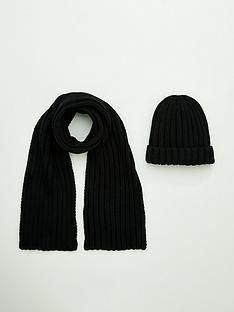 v-by-very-boys-2-piece-set-hat-and-scarf-black
