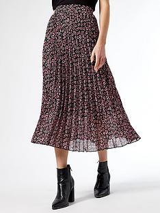 dorothy-perkins-floral-pleat-midi-skirt--nbsppinknbsp