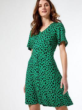 dorothy-perkins-spot-button-through-tea-dress-green