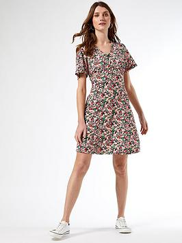 dorothy-perkins-floralnbspbutton-through-dress-pink