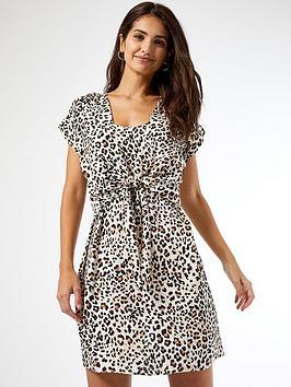 dorothy-perkins-leopard-print-tie-front-dress-multi