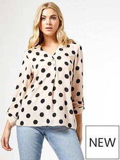 dorothy-perkins-spot-roll-sleeve-shirt--nbspcreamnbsp