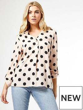 dorothy-perkins-spot-roll-sleeve-shirt--nbspcreamnbsp